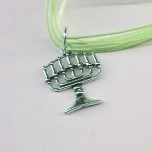 Цепочка зелёная с кулоном Менора (Семисвечник)