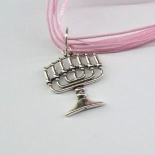 Цепочка розовая с кулоном Менора (Семисвечник)