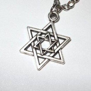 Цепочка с серебристым двойным кулоном Маген Давид (Звезда Давида)