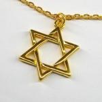 Большой золотистый кулон Маген Давид (Звезда Давида)
