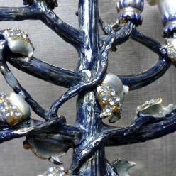 Ханукия «Сапфир» с эмалью и позолотой (Ханукальный подсвечник), 24 см