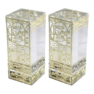 Шабатние хрустальные подсвечники с металлической вставкой «Иерусалим», 12 см