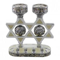 Шабатний подсвечник «Маген Давид» с эмалью