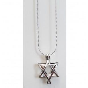 Цепочка с кулоном «Маген Давид с жемчужиной»