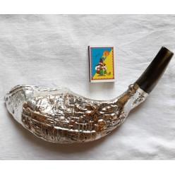 Шофар, декор серебро «Иерусалим», 32см
