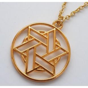 Золотистый кулон круг с Маген Давид (Звезда Давида)