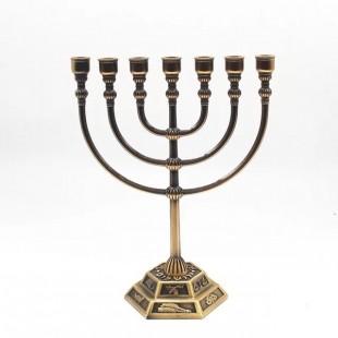 Менора «12 колен Израиля» медь (подсвечник семисвечник), 17 см