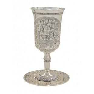 Бокал для кидуша цвет-  серебро, 25 см (уценка)