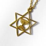 Кулон Маген Давид (Звезда Давида) + менора, золотистый