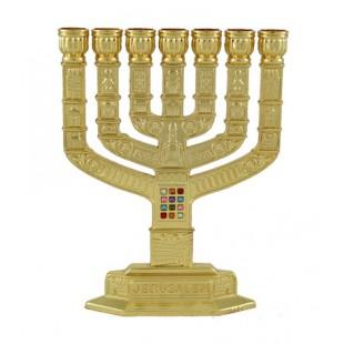 Менора «Хошен» золотистая (подсвечник семисвечник), 12 см