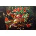 Натюрморт «Гранат, яблоко, виноград» (масло)