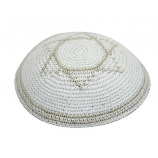 Кипа белая с бежевым Маген Давидом (Звездой Давида), 17 см