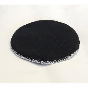 Кипа черная, кайма люрекс ,10 см (ручная работа)