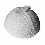 Белая брацлавская вязаная кипа  с кисточкой (косы)