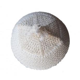 Бело- бежевая брацлавская вязаная кипа  с кисточкой