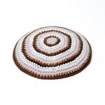 Кипа коричневая полосатая, 12 см