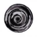 Кипа черная с серыми и белыми полосами, 12 см