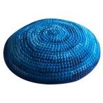 Кипа синяя полосатая, 12 см (ручная работа)