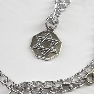 Цепочка с серебристым геометрическим кулоном Маген Давид (Звезда Давида)