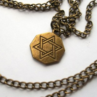 Цепочка с бронзовым геометрическим кулоном Маген Давид (Звезда Давида)
