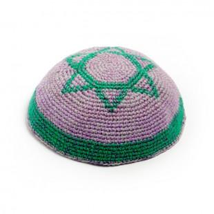 Кипа фиолетовая с Маген Давидом (Звездой Давида), 21 см (ручная работа)