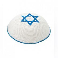 Кипа белая с Маген Давидом (Звездой Давида) - синий, 15 см