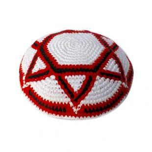 Кипа бело-красная с Маген Давидом (Звездой Давида), 15 см (ручная работа)