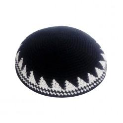 Кипа черная с орнаментом, 16 см (ручная работа)