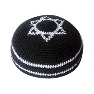 Кипа черная глубокая с Маген Давидом (Звездой Давида), 17 см (ручная работа)