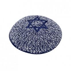 Кипа темно-синяя с Маген Давидом (Звездой Давида), 15 см