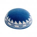 Кипа синяя с орнаментом, 16 см (ручная работа)