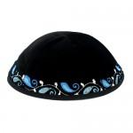 Кипа тёмно-синяя вельветовая с орнаментом, 16 см