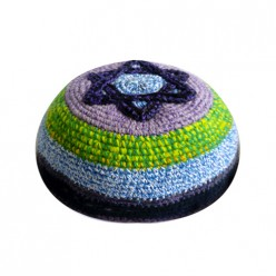 Кипа разноцветная (фрик), 16 см (ручная работа)