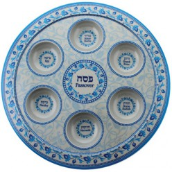 Пасхальное блюдо с сине-голубым орнаментом, 35 см