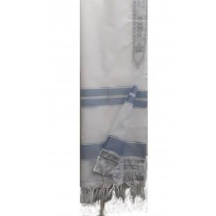 Талит  белый акрил (голубые и серебряные полосы), 140х190 см
