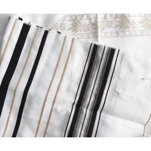 Талит акрил (чёрные и золотые полосы), 65х172см