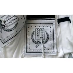 Талит акрил (чёрные и серебряные полосы), 140х185 см