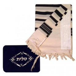 Талит бежевый (чёрные полосы) + сумочка