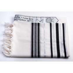 Талит шерсть (чёрные и серебряные полосы), 150х185 см